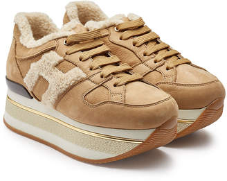 Hogan Suede Platform Sneakers with Shearling