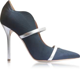 Malone Souliers Maureen Navy Blue Moire Fabric and Silver Metallic Nappa Leather High Heel Pumps