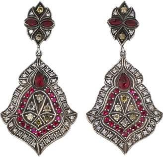 Sevan Biçakci Scroll Sheild Ruby And Diamond Earrings