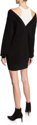 Alexander Wang Ribbed Off-Shoulder Mini Sweater Dress with Tank