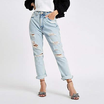River Island Petite light blue boyfriend fit ripped jeans