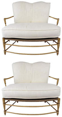 One Kings Lane Vintage French Provincial-style Pair of Settees - Castle Antiques & Design