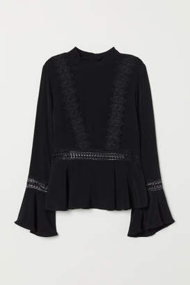 H&M Blouse with Lace - Black