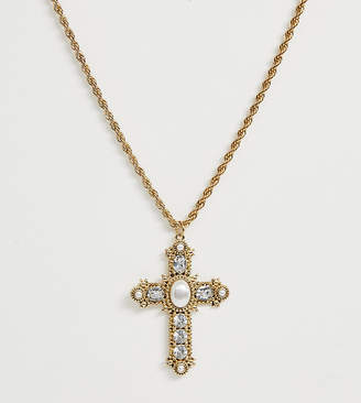 Reclaimed Vintage inspired statement cross detail necklace with faux pearl detail