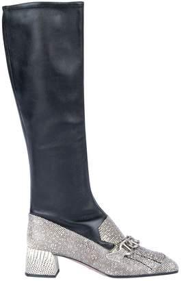 Prada Black Python Boots