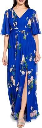 Adrianna Papell Royal Multi Long Chiffon Dress