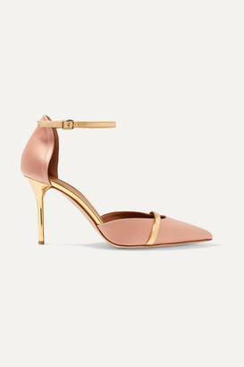 Malone Souliers Booboo 85 Metallic Leather-trimmed Satin Pumps - Blush