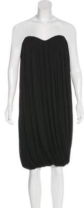 Alexander McQueen Pleated Strapless Midi Dress Black Pleated Strapless Midi Dress