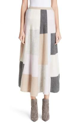 ADAM by Adam Lippes Patchwork Cashmere & Silk Skirt