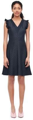 Rebecca Taylor Striped Suiting V-Neck Dress