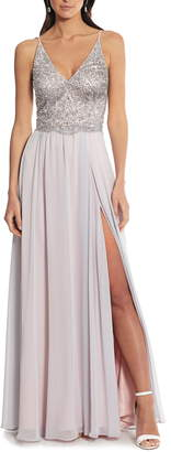 Xscape Evenings Embellished Bodice V-Neck Chiffon Evening Dress