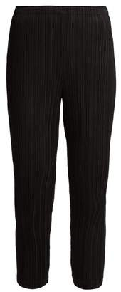 Pleats Please Issey Miyake Slim Leg Cropped Pleated Trousers - Womens - Black