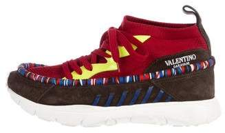 Valentino Knit High-Top Sneakers