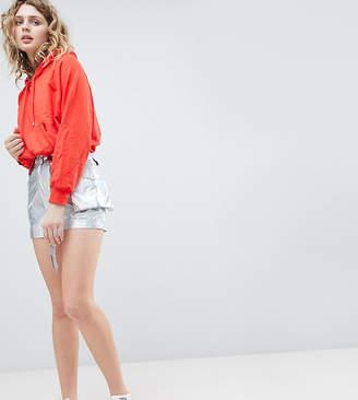 Asos Design DESIGN bum bag shorts in meTallic