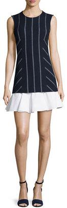 Derek Lam 10 Crosby Sleeveless Striped Flounce Dress, Midnight $450 thestylecure.com