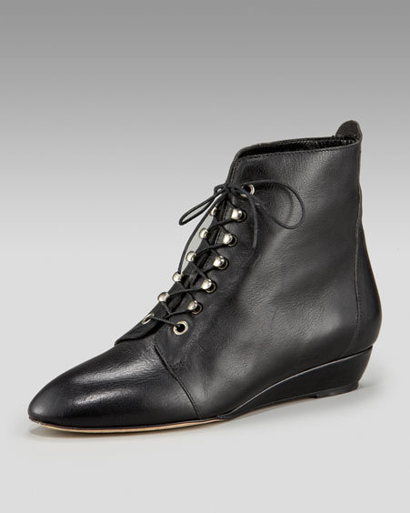 Loeffler Randall Lace-Up Demi-Wedge Boot
