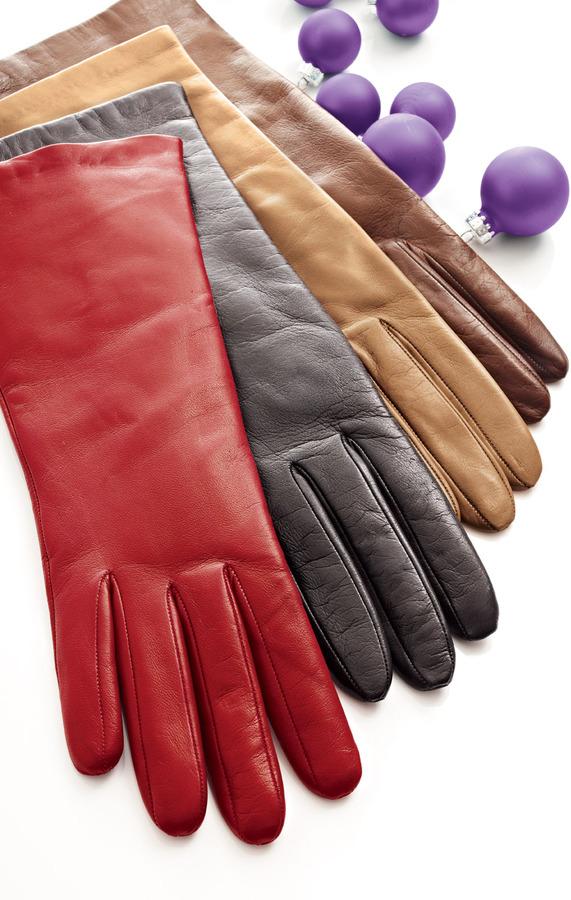 Portolano Cashmere-Lined Four-Button Gloves, Tan