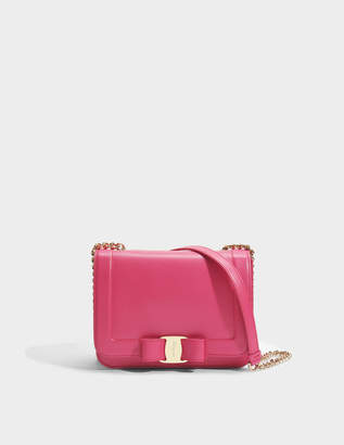 Salvatore Ferragamo Vara Rainbow Small Bag in Fuchsia Liberty Leather
