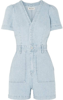 Madewell Striped Denim Playsuit - Blue