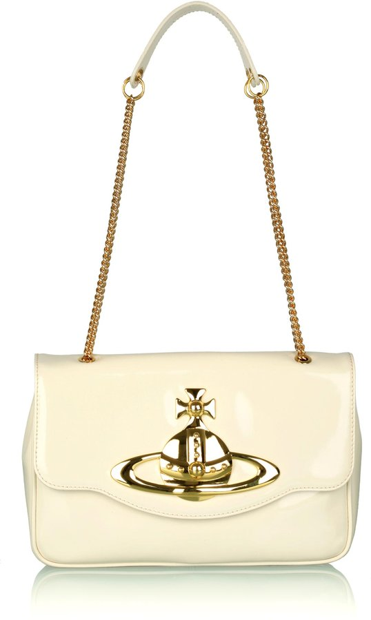 Vivienne Westwood Cream Patent Orb Shoulder Bag