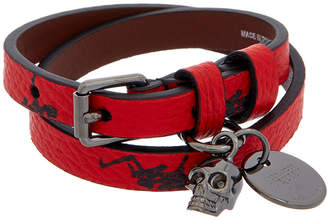 Alexander McQueen Dancing-Skeleton Leather Wrap Bracelet