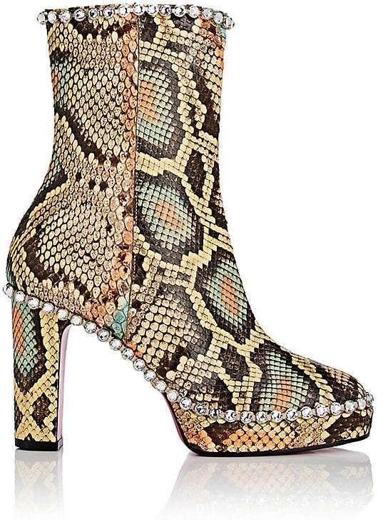 Gucci Women's Crystal-Embellished Python Platform Ankle Boots
