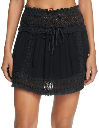 Surf.Gypsy Crochet Fringe Mini Skirt Swim Cover-Up