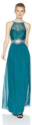 Speechless Junior's Full-Length Dress with Peek-a-Boo Jeweled Waist (Junior's)