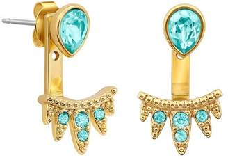 Adore Gold Plated Teardrop Swarovski Crystal Accent & Pave Jacket Earrings