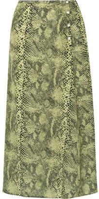 Sandy Liang Moody Snake-print Silk Crepe De Chine Midi Skirt - Snake print