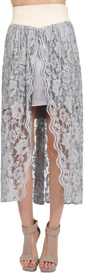 AGAIN Susan Lambskin Laced Skirt in White Lavendar