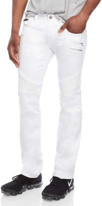 Cult of Individuality White Moto Slim Straight Jeans