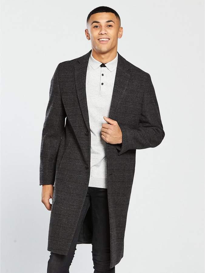 Longline Wool Mix Coat - Grey Check
