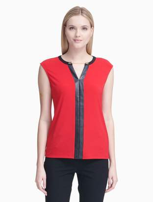 Calvin Klein chainlink faux leather sleeveless top