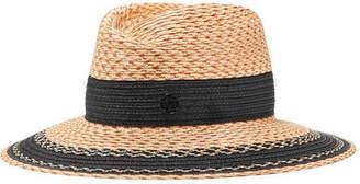 Maison Michel Grosgrain-trimmed Straw Hat - Beige