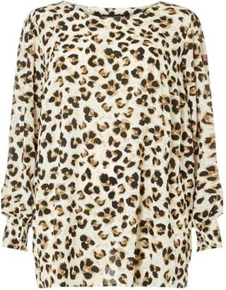 Dorothy Perkins Womens **Dp Curve White Leopard Print Long Sleeve Shirred Soft T-Shirt