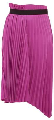 Balenciaga Pleated Asymmetric Midi Skirt - Womens - Dark Pink