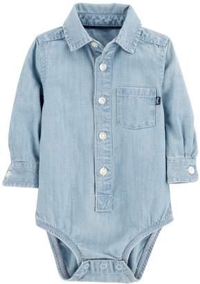 Osh Kosh Oshkosh Bgosh Baby Boy Chambray Button Down Bodysuit