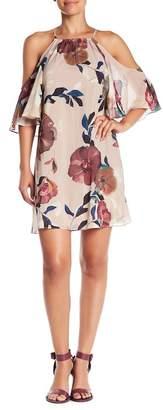 Trina Turk Seraphima Floral Cold Shoulder Silk Blend Dress