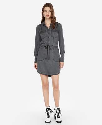 Express Silky Soft Twill Military Shirt Dress