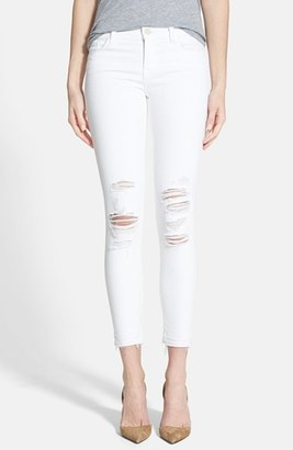J Brand Low Rise Crop Jeans (Demented White Distressed) $178 thestylecure.com