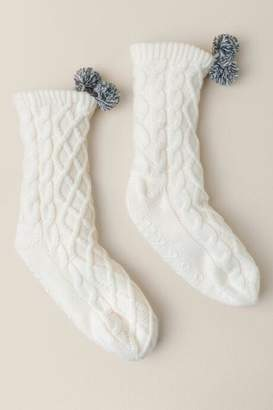 Pudus Cable Knit Slipper Socks - Ivory