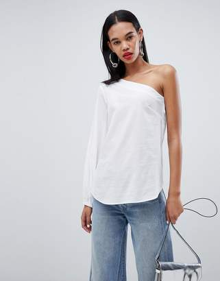 Weekday one shoulder shirt with drawstring detail in white