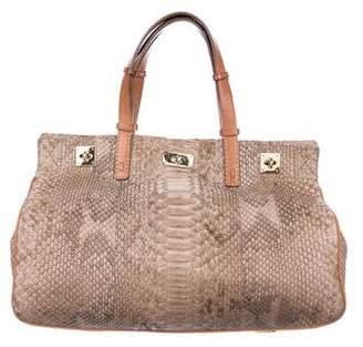 VBH Python Leather-Trimmed Handle Bag