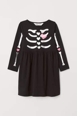 H&M Printed Jersey Dress - Black