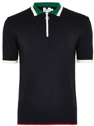 Topman Mens Navy Knitted Zip Polo