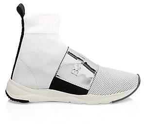 Balmain Women's Cameron Knit Logo Sneaker Boots