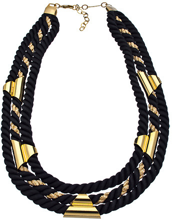 A.V. Max Black and Gold Three Row Cord Necklace