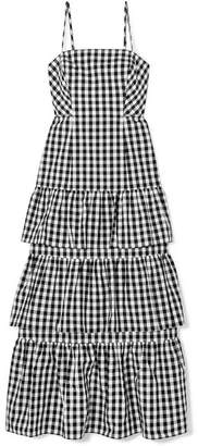 J.Crew Dabble Tiered Gingham Cotton-poplin Midi Dress - Black
