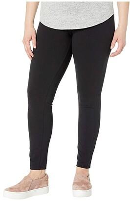 Hue Plus Size Wide Waistband Blackout Cotton Leggings
